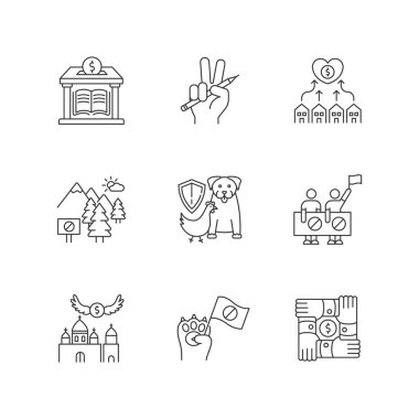 Community support pixel perfect linear icons set. Public strike, social demonstration and union. Customizable thin line contour symbols. Isolated vector outline illustrations. Editable stroke icon