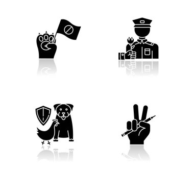 Social activism drop shadow black glyph icons set. Animal right demonstration. Civil War veteran appreciation. Wildlife protection. Freedom of press. Isolated vector illustrations on white space icon