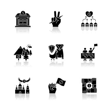 Community support drop shadow black glyph icons set. Public strike, social demonstration and union. Money donation to library. Support free education. Isolated vector illustrations on white space icon