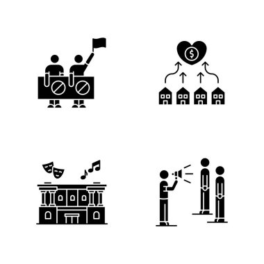 Social life black glyph icons set on white space. Human right protection. Neighborhood development. Cultural center. Public broadcasting. Silhouette symbols. Vector isolated illustration icon