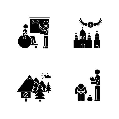 Social service black glyph icons set on white space. Inclusive education. Donation to christian church. Offer to religious congregation. National park. Silhouette symbols. Vector isolated illustration icon