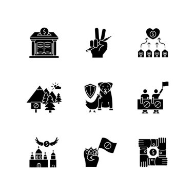 Community support black glyph icons set on white space. Public strike, social demonstration and union. Money donation to library. Free education. Silhouette symbols. Vector isolated illustration icon