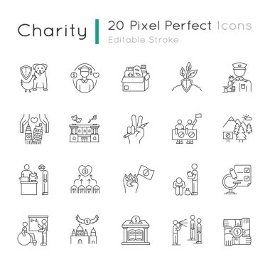 Charity pixel perfect linear icons set. Food donation. Financial aid. Volunteering for public work. Customizable thin line contour symbols. Isolated vector outline illustrations. Editable stroke icon