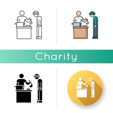 Food bank icon. Humanitarian aid to homeless people. Volunteer to work at social service program. Giving food to poor person. Linear black and RGB color styles. Isolated vector illustrations icon