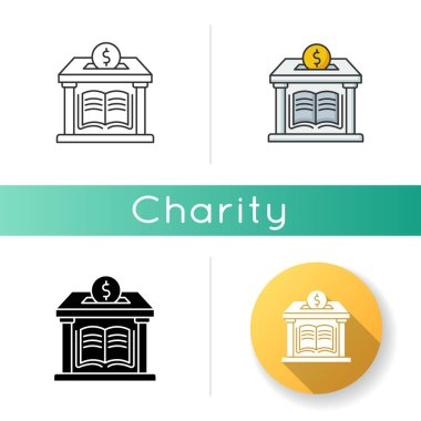 Public library donation icon. Donate money to support free education. Charity for college and university. Help public school. Linear black and RGB color styles. Isolated vector illustrations icon