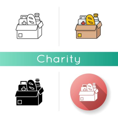 Humanitarian aid icon. Food bank. Free groceries to donate. Social service give free product. Support homeless. Shopping for essential. Linear black and RGB color styles. Isolated vector illustrations icon