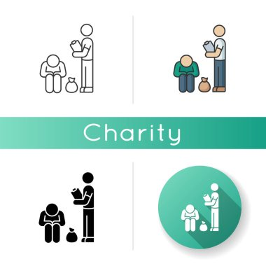 Service for homeless icon. Social service to help poor people. Volunteering to give beggar free humanitarian aid. Rescue person. Linear black and RGB color styles. Isolated vector illustrations icon