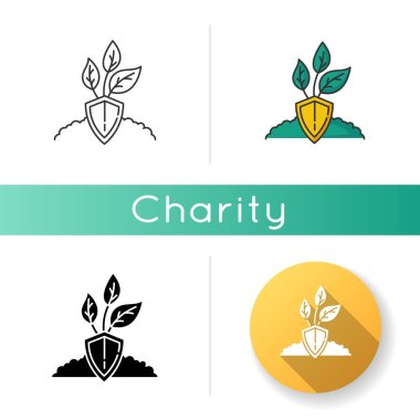 Nature protection icon. Plant preservation. Conservation to protect ecosystem. Sustainable development to help preserve environment. Linear black and RGB color styles. Isolated vector illustrations icon