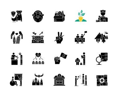 Charity black glyph icons set on white space. Food donation. Volunteering for public work. Support for poor people. Environment preservation. Silhouette symbols. Vector isolated illustration icon