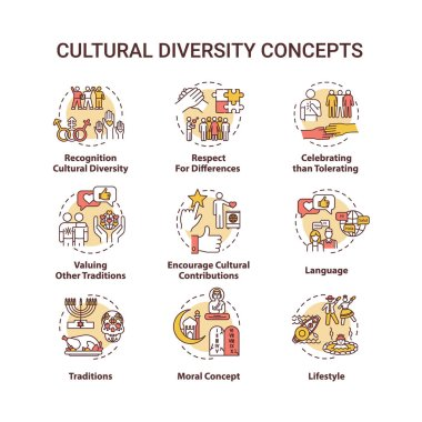 Cultural diversity concept icons set. Respect for different nationality. Multi ethnic equality in group idea thin line RGB color illustrations. Vector isolated outline drawings. Editable stroke icon
