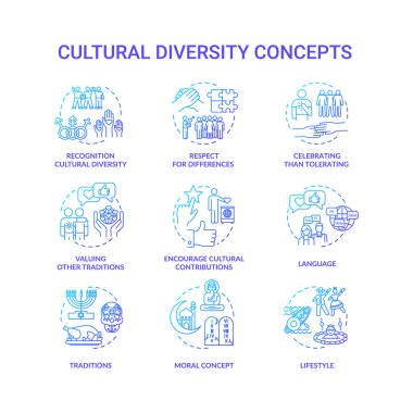 Cultural diversity blue gradient concept icons set. Respect for different nationality. Multi ethnic equality in group idea thin line RGB color illustrations. Vector isolated outline drawings icon