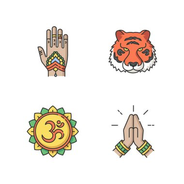 Indian culture RGB color icons set. Mehndi on hand. Henna drawings. Bengal tiger. National animal. Om visual representation. Sound of universe. Namaste gesture. Isolated vector illustrations icon