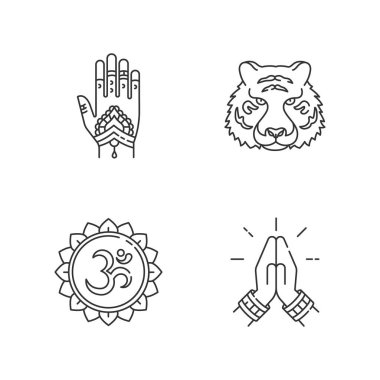 Indian culture pixel perfect linear icons set. Mehndi on hand. Bengal tiger. Om sound. Namaste gesture. Customizable thin line contour symbols. Isolated vector outline illustrations. Editable stroke icon