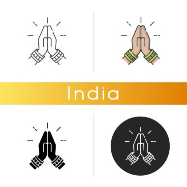 Namaste icon. Hindu greeting. Hands pressed together. Respectful salutation. Anjali Mudra. Praying hands. Indian religion. Linear black and RGB color styles. Isolated vector illustrations icon