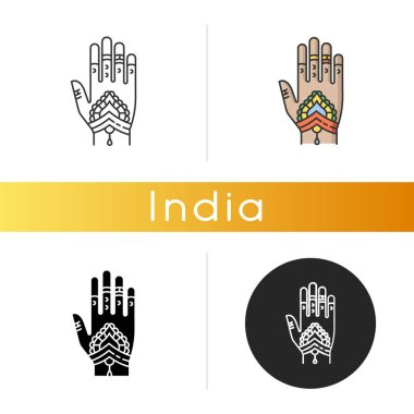 Mehndi icon. Indian tradition. Body art. Decorative designs on hand. Henna drawings. Tattoo artwork. Asian culture. Bridal ceremony. Linear black and RGB color styles. Isolated vector illustrations icon