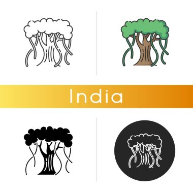 Indian banyan icon. National Indian evergreen tree with wide crown. Symbol of eternal life and unity. Upside down tree. Linear black and RGB color styles. Isolated vector illustrations icon