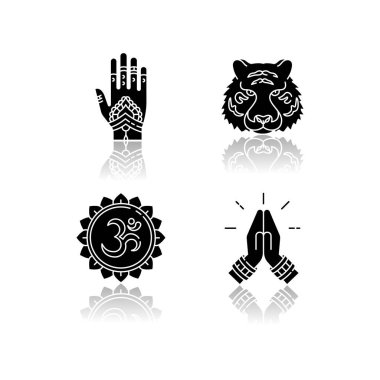 Indian culture drop shadow black glyph icons set. Mehndi on hand. Henna drawings. Bengal tiger. Om representation. Sound of universe. Namaste gesture. Isolated vector illustrations on white space icon