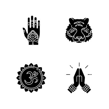 Indian culture black glyph icons set on white space. Mehndi on hand. Henna drawings. Bengal tiger. Om visual representation. Namaste gesture. Silhouette symbols. Vector isolated illustration icon