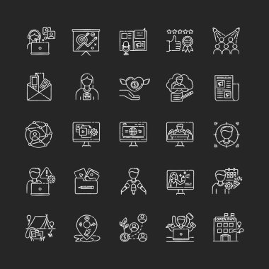Pr marketing chalk white icons set on black background. Brand image. Corporate identity. Company employment. Public relation. Investment in foundation. Isolated vector chalkboard illustrations icon