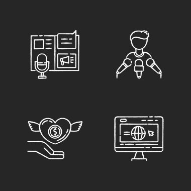 Public relation chalk white icons set on black background. Advertorial press release. Spokesperson with microphones. Broadcast interview. Corporate website. Isolated vector chalkboard illustrations icon