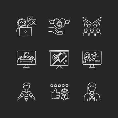 Promotion chalk white icons set on black background. Publicist worker. Donation to charity foundation. Target audience. Press conference. Marketing strategy. Isolated vector chalkboard illustrations icon