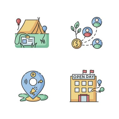 Event organization RGB color icons set. Special event for corporate employees. Stakeholder invest in organization. Local mass media promotion. Open house day. Isolated vector illustrations icon