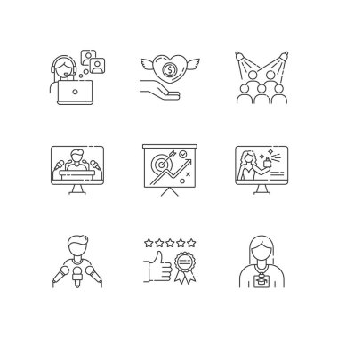 Promotion pixel perfect linear icons set. Publicist worker. Donation to charity foundation. Customizable thin line contour symbols. Isolated vector outline illustrations. Editable stroke icon