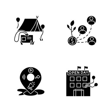 Event organization black glyph icons set on white space. Special event for corporate employees. Stakeholder invest in organization. Open house day. Silhouette symbols. Vector isolated illustration icon