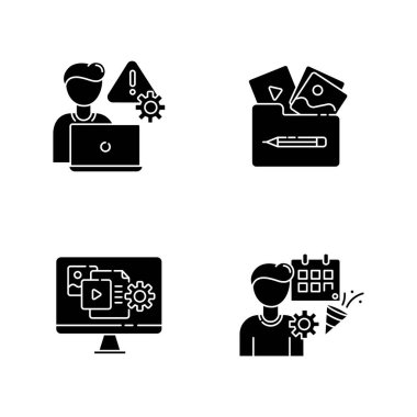 Management black glyph icons set on white space. Crisis management. Visual portfolio. Multimedia gallery. Content manager. Threat analysis. Silhouette symbols. Vector isolated illustration icon
