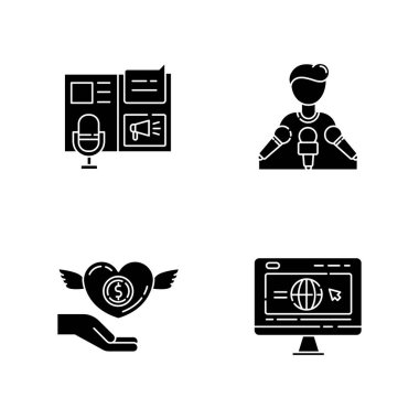 Public relation black glyph icons set on white space. Advertorial press release. Spokesperson with microphones. Broadcast interview. Money donation. Silhouette symbols. Vector isolated illustration icon