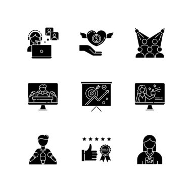 Promotion black glyph icons set on white space. Publicist worker. Donation to charity foundation. Target audience. Marketing strategy. Silhouette symbols. Vector isolated illustration icon