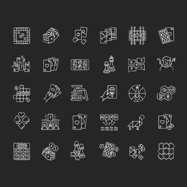 Board games chalk white icons set on black background. Popular recreation activities, entertainment for family and friends. Different games played on table. Isolated vector chalkboard illustrations icon