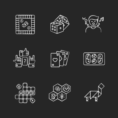 Entertaining games chalk white icons set on black background. Traditional fun activities for family recreation and friendly parties Different board games. Isolated vector chalkboard illustrations icon