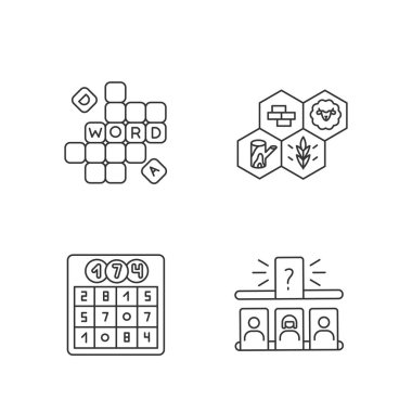 Recreational games pixel perfect linear icons set. Family party entertainment activities customizable thin line contour symbols. Isolated vector outline illustrations. Editable stroke icon