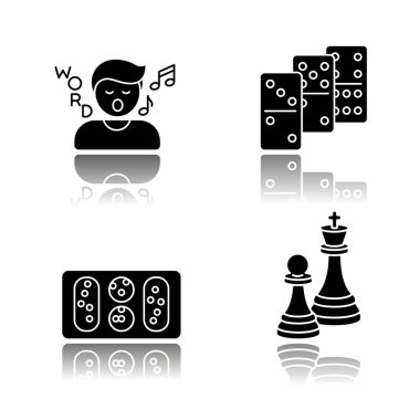 Entertainment activities drop shadow black glyph icons set. Friendly time and family party recreation. Song game, dominoes, mancala and chess. Isolated vector illustrations on white space icon