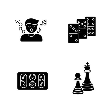 Entertainment activities black glyph icons set on white space. Friendly time and family party recreation silhouette symbols. Song game, dominoes, mancala and chess. Vector isolated illustrations icon