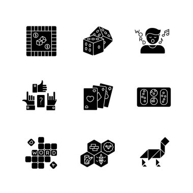 Entertaining games black glyph icons set on white space. Traditional fun activities for family recreation and friendly parties. Different board games silhouette symbols. Vector isolated illustrations icon