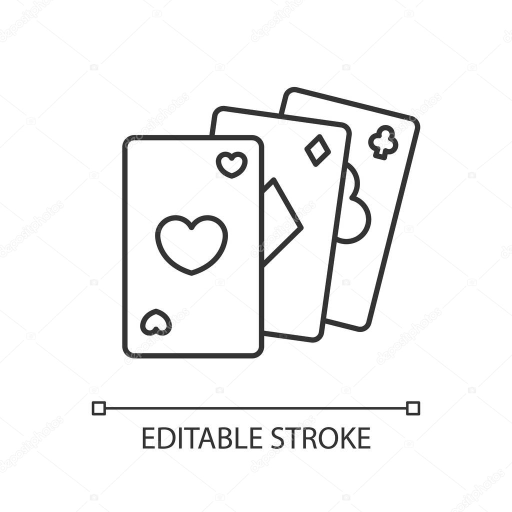 Card Game Pixel Perfect Linear Icon Traditional Casino Pastime Poker Thin Line Customizable Illustration Contour Symbol Cards Of Different Suits Vector Isolated Outline Drawing Editable Stroke Premium Vector In Adobe Illustrator