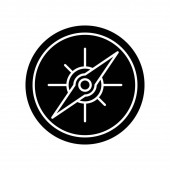 Compass black glyph icon. Marine and land navigation, direction guide tool silhouette symbol on white space. Traveler instrument with cardinal points and magnetic arrow  isolated illustration