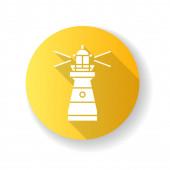 Maják žlutý plochý design dlouhý stínový glyf ikona. Tradiční námořní orientační bod. Varovné znamení pro námořníky. Vysoká budova s jasným reflektorem Silueta RGB barevné ilustrace