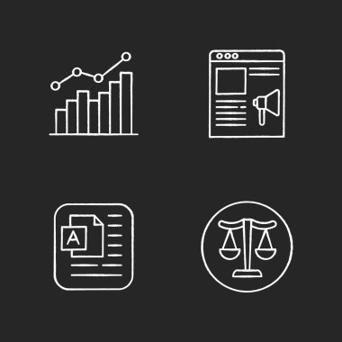Online marketing elements chalk white icons set on black background. Growing bar statistic. Internet campaign. Native ad. Document page. Balanced scales. Isolated vector chalkboard illustrations icon