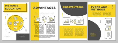 Distance education brochure template. Remote learning methods. Flyer, booklet, leaflet print, cover design with linear icons. Vector layouts for magazines, annual reports, advertising posters stock vector