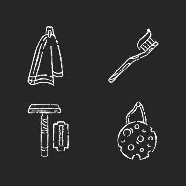 Eco friendly hygiene products chalk white icons set on black background. Cloth napkin, bamboo toothbrush, reusable razor and eco sponge. Sustainability. Isolated vector chalkboard illustrations icon