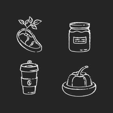 Zero waste food chalk white icons set on black background. Vegan meat, glass jar, reusable coffee cup and food savers. Sustainable lifestyle accessories. Isolated vector chalkboard illustrations icon