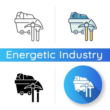 Coal industry icon. Linear black and RGB color styles. Natural resources exploitation, fossil fuel mining. Colliery equipment, trolley with coal and pickaxe isolated vector illustrations icon