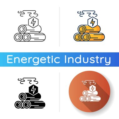 Wood energy icon. Linear black and RGB color styles. Power manufacturing business, electricity generation. Natural resources exploitation, deforestation. Isolated vector illustrations icon
