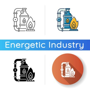 Gas industry icon. Linear black and RGB color styles. Energy business. Natural resources exploitation. Crude materials, fossil fuel manufacturing. Gas supply isolated vector illustrations icon