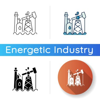 Oil industry icon. Linear black and RGB color styles. Petroleum refinery station, fossil fuel extraction plant. Natural resources exploitation. Oil pump, derrick isolated vector illustrations icon