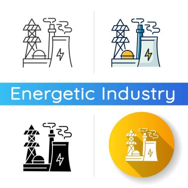 Energy industry icon. Linear black and RGB color styles. Electricity manufacturing, environment pollution technology. Modern power plant, electric station isolated vector illustrations icon
