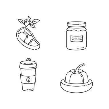 Zero waste food linear icons set. Vegan meat, glass jar, reusable coffee cup and food savers customizable thin line contour symbols. Isolated vector outline illustrations. Editable stroke icon